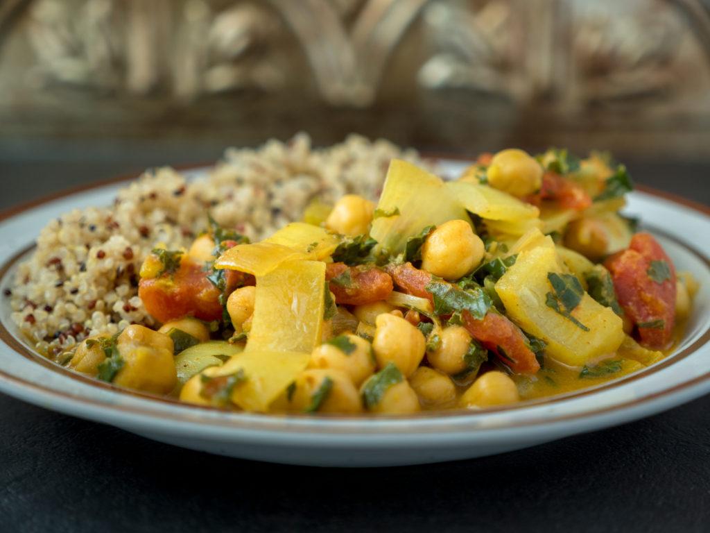 Curry de Grão-de-Bico Cozido Lentamente