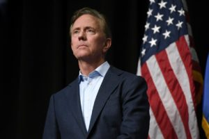 Democratic candidate for governor Ned Lamont during a rally in Hartford, Conn., Friday, Oct. 26, 2018. (AP Photo/Jessica Hill)